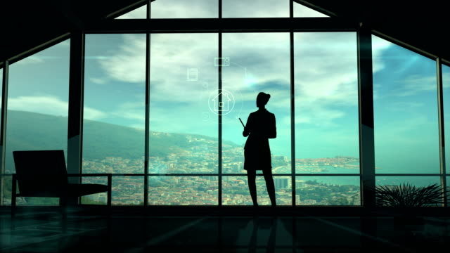 Silhouette Of Woman And IOT Infographics video