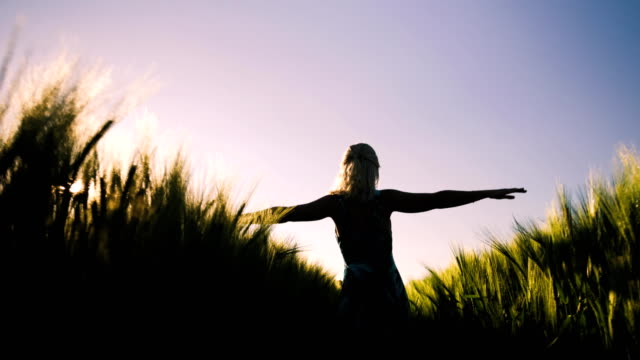 Silhouette of young woman running along wheat field imitates flying bird wings. Sunset flares come up through the wheat video
