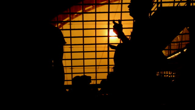 Silhouette scene for passengers at the airport in the morning. video