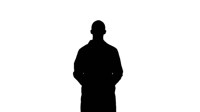 Silhouette Smiling doctor talking to the camera video