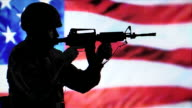 Silhouette Solider and Rifle, Military American Flag, USA Army Combat Veteran video