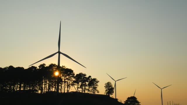 Silhouette Wind Turbine at sunset video