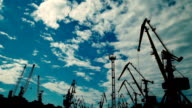 Silhouettes of Cranes Working in the Port video