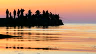 Silhouettes of fishermen catching fish at sunset video