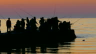 Silhouettes of fishermen for night fishing video