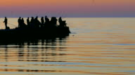 Silhouettes of fishermen with fishing rods at the dock video
