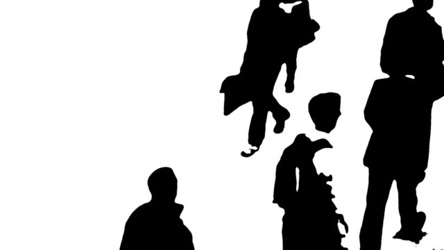B/W Silhouettes Of People On The Move video
