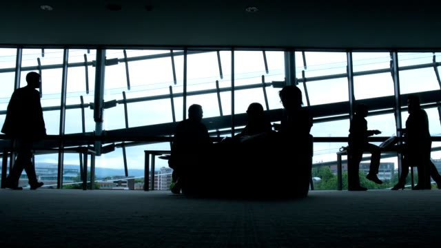 Silhouettes of people opposite to windows in airport. video