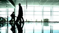Silhouettes of People Walking in the Airport video