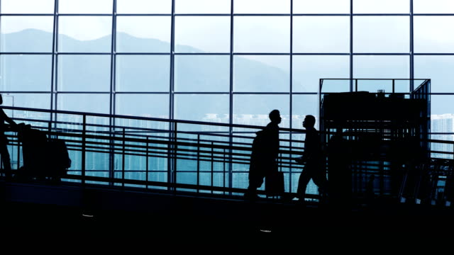 Silhouettes of Travelers in Airport. video