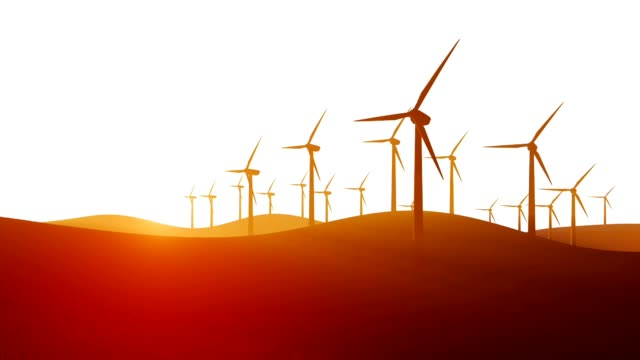 Silhouettes of wind turbines on white background video