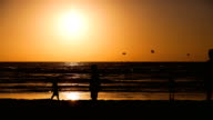 Silhouettes walking beach during sunset timelapse video