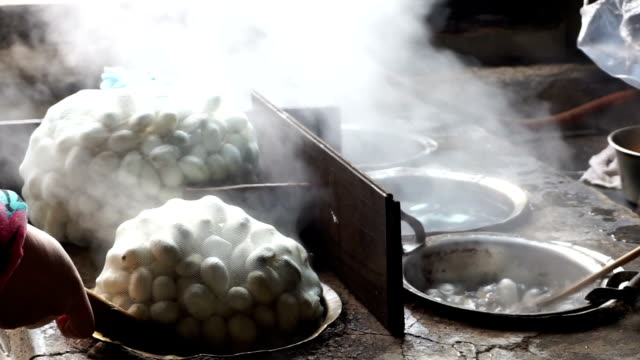 silkworm cocoon boiling in hot water video