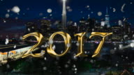 Silver glitter over downtown Manhattan 2017 new year video