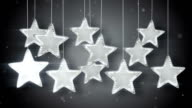 silver hanging stars christmas lights loop video