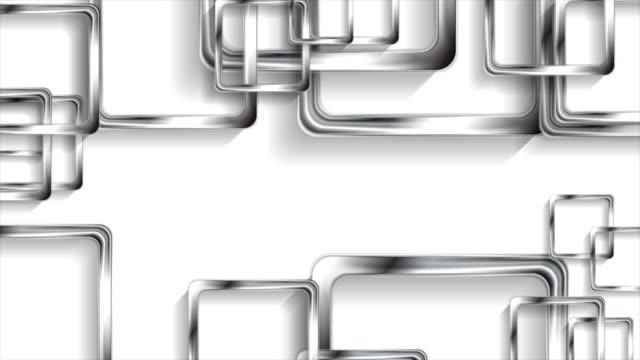 Silver metallic squares on white background video animation video