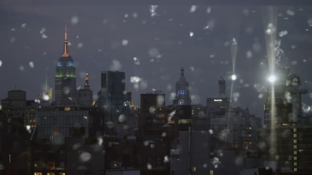 Silver snow glitter cityscape skyline New York City Abstract video