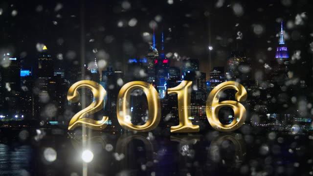Silver snow glitter New York skyline Fireworks 2016 countdown video