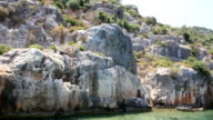 Simena - flooded ancient Lycian city. Kekova island. Ruins of antique architecture video