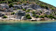 Simena - flooded ancient Lycian city.Kekova island.Ruins of antique architecture video