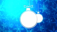 Simple Bauble Merry Christmas Happy New Year Blue Background Animation video