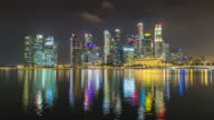sinagpore famous city downtown panorama 4k time lapse video