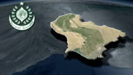 Sindh - province with Coat of arms animation map video
