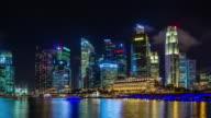 singapore bay night light round panorama 4k time lapse video