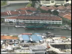 Singapore Boats on Riverbank - Pull to Cityscape From Above video