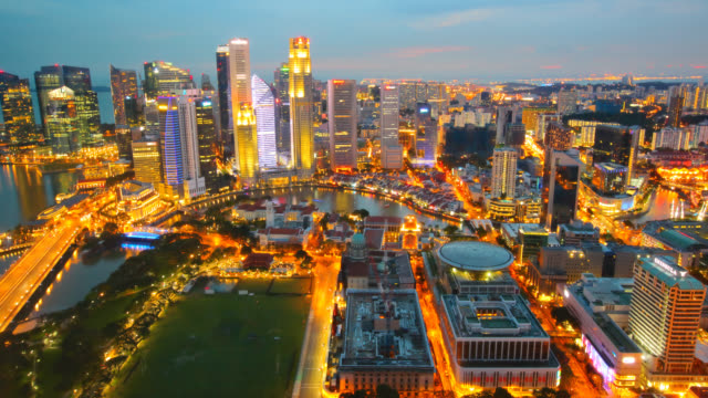 Singapore City Skyline at Sunset video