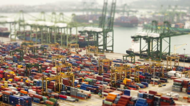 Singapore docks. HD timelapse tilt shift effect video