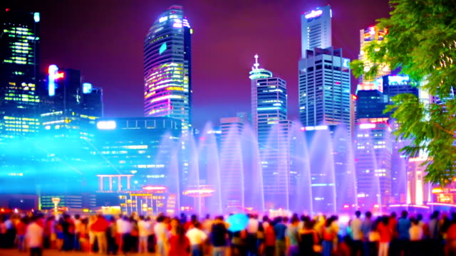 Singapore - night people and building video