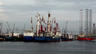 Singapore ships and cranes. video