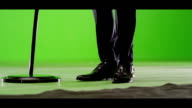 Singer legs. Male artist with microphone stand. video