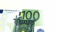Single 100 euro note rotating video