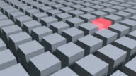 Single Glowing Red Cube With Middle Of Metallic Gray Cubes video