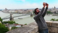 Single man enjoy with Budapest River view, Hungary video