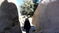 single woman is walking in Goreme  National park in Cappadocia video