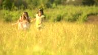 HD Sisters run in golden rye grass field video