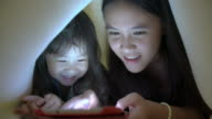 Sisters using tablet under the blanket video