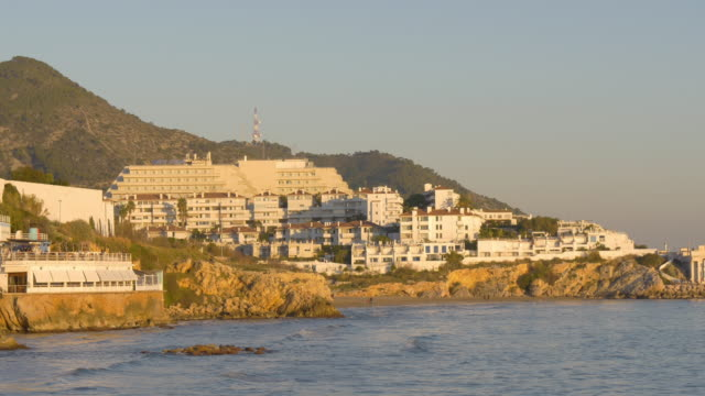 sitges sunset coast hotels beach 4k spain video