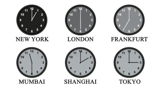 Six clock faces with hands moving through 24 hours video