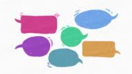 Six Speech bubble text bar, illustration drawing style video