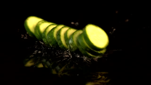 Six videos of falling cucumber in real slow motion video