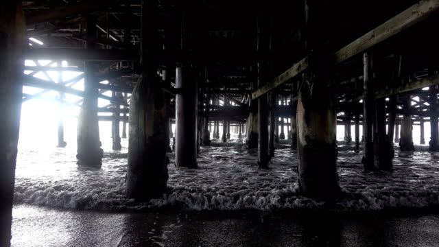 Six videos of walking under pier in 4K video