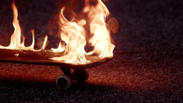 skateboard on fire video