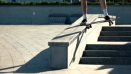Skateboarder fails trick in slow-mo. video