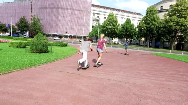 Skateboarders having fun in the city video