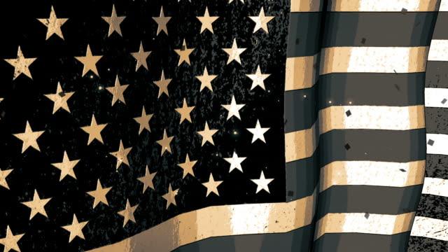 Sketched American Flag Waving video