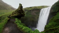 Skógafoss waterfall: top side view / slow motion / Iceland video